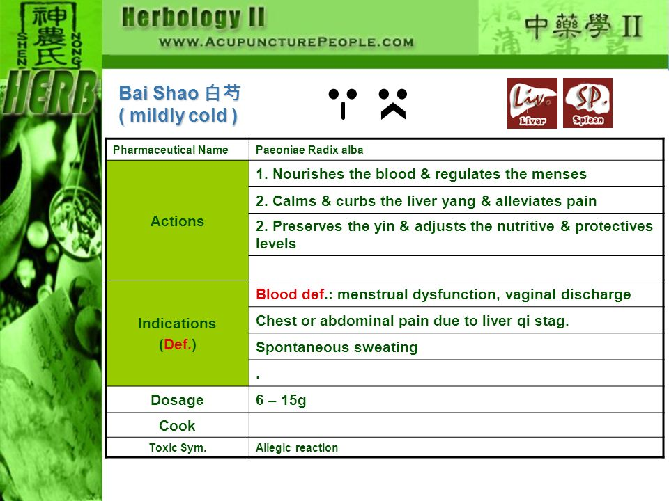 Bai Shao 白芍 ( mildly cold ) Actions