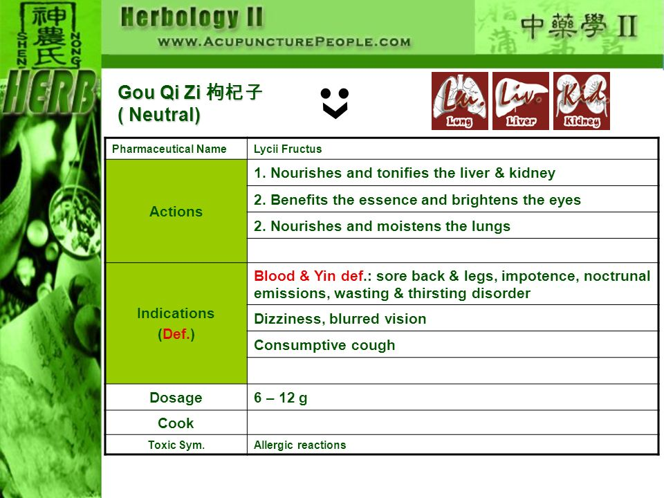 Gou Qi Zi 枸杞子( Neutral) Actions