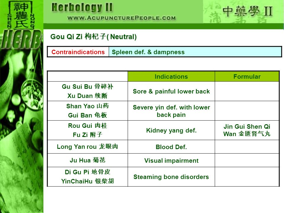 Gou Qi Zi 枸杞子( Neutral) Contraindications Spleen def. & dampness