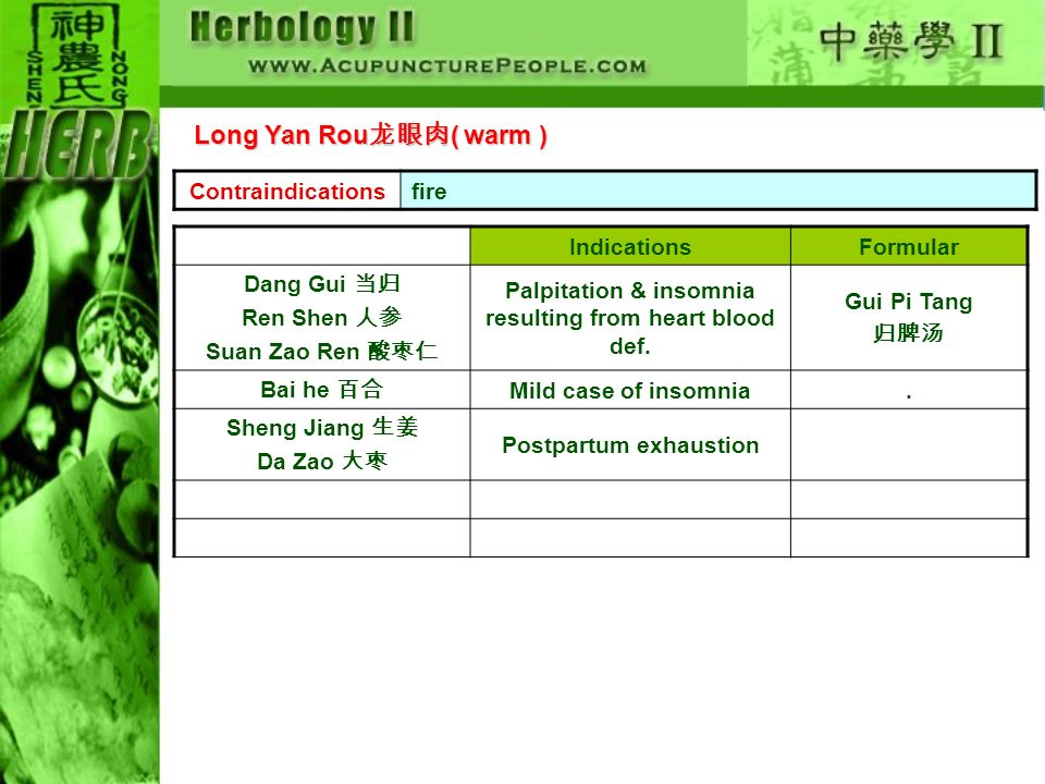 Long Yan Rou龙眼肉( warm ) Contraindications fire Indications Formular