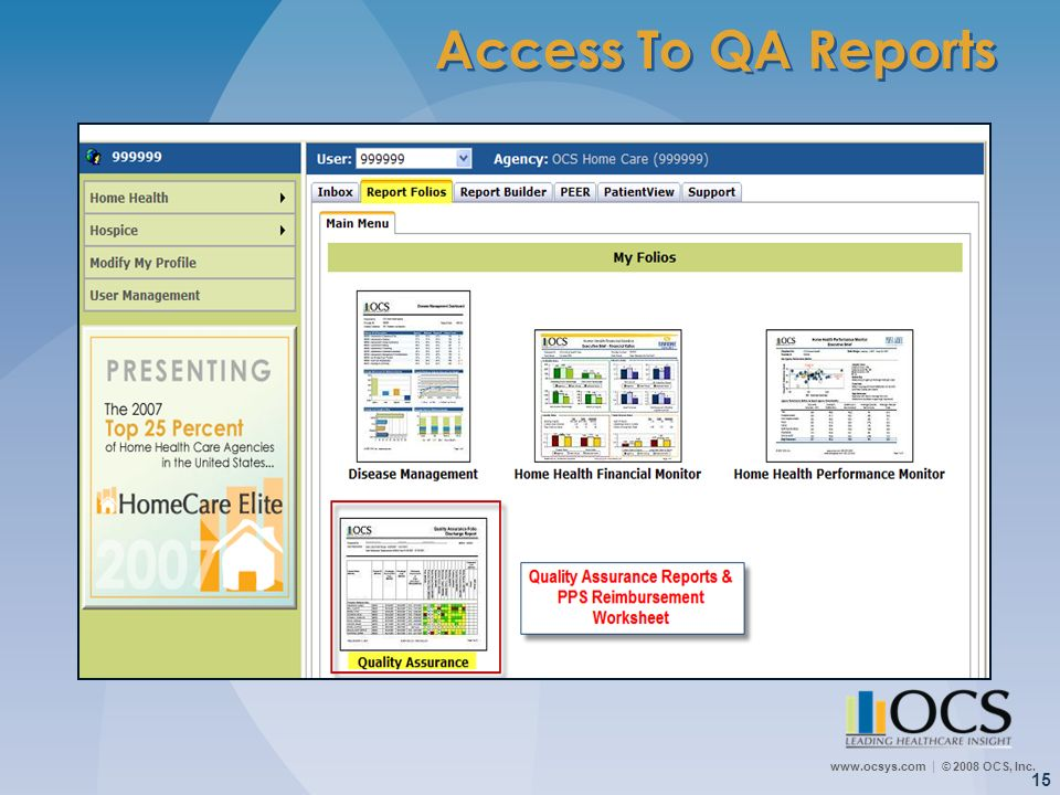Access To QA Reports There are three main tabs for OCS-Connection: Inbox, Report Folios and Report Builder.