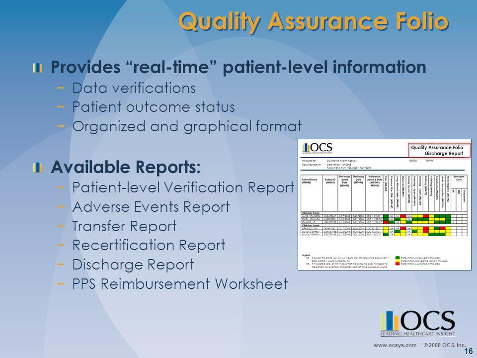 Quality Assurance Folio