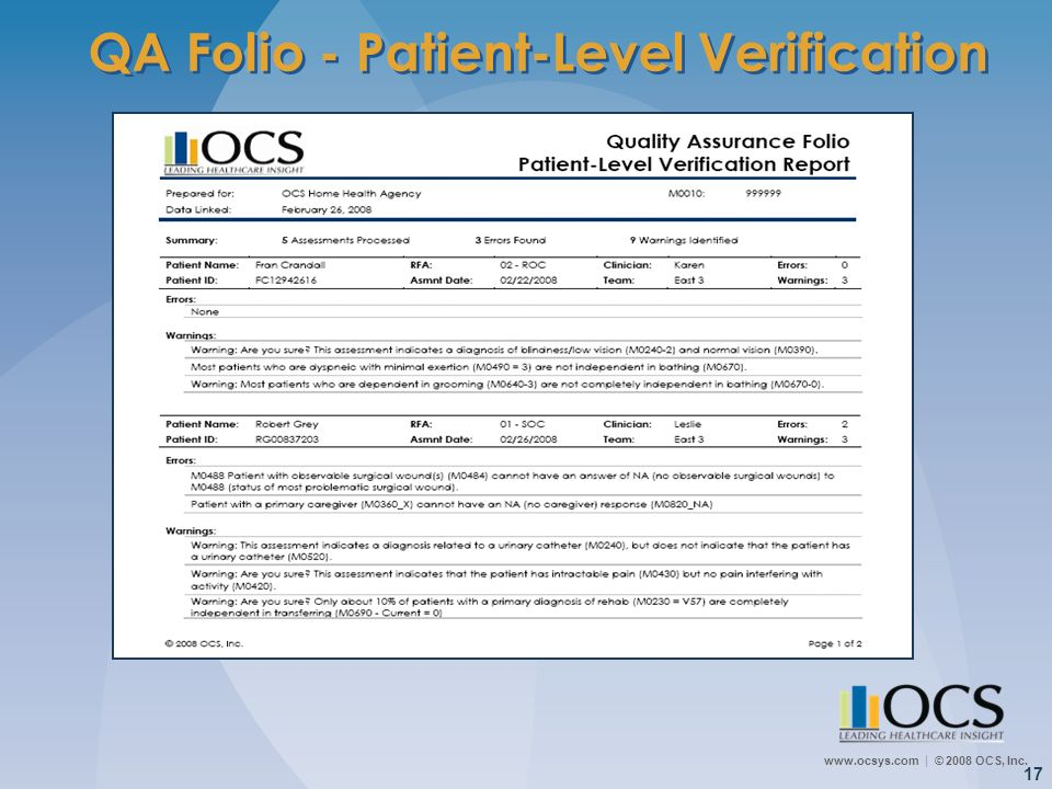QA Folio - Patient-Level Verification
