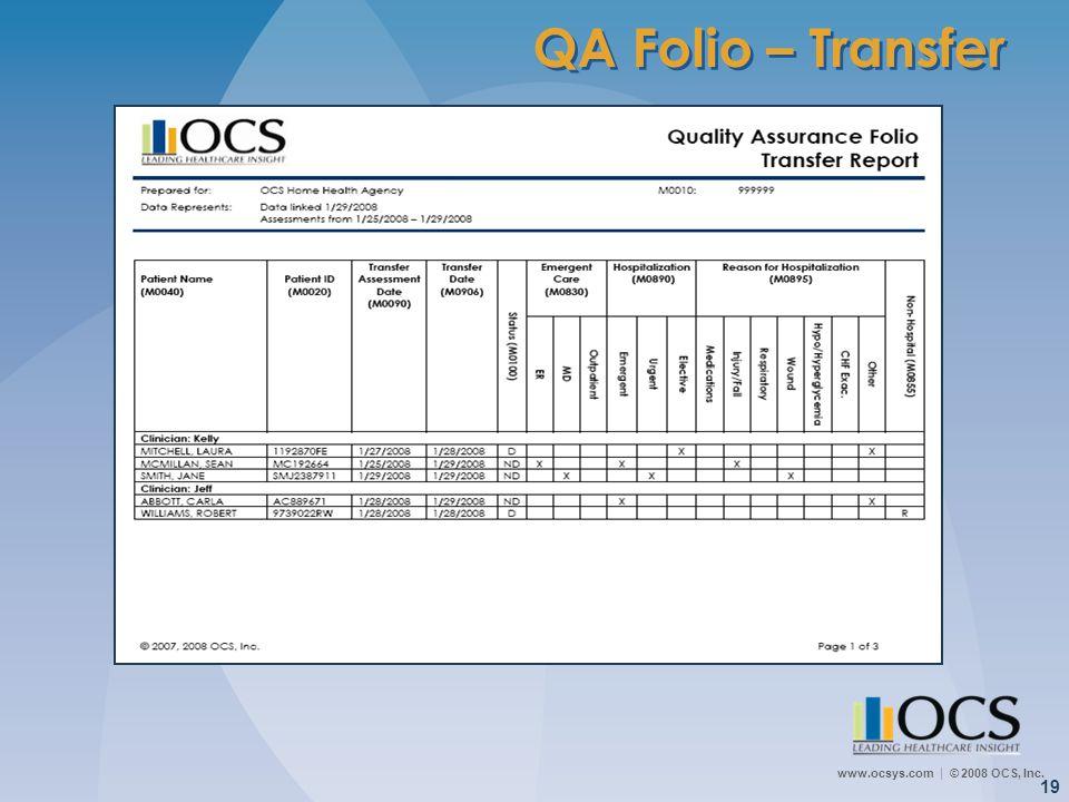 QA Folio – Transfer Quality Assurance Transfer Report: