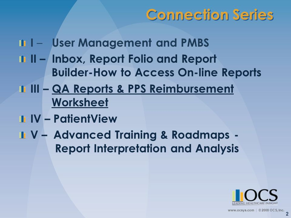 Connection Series I – User Management and PMBS