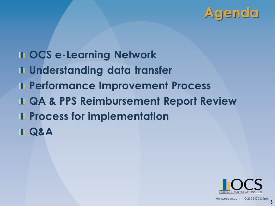 Agenda OCS e-Learning Network Understanding data transfer