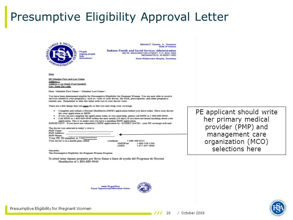 Presumptive Eligibility Approval Letter