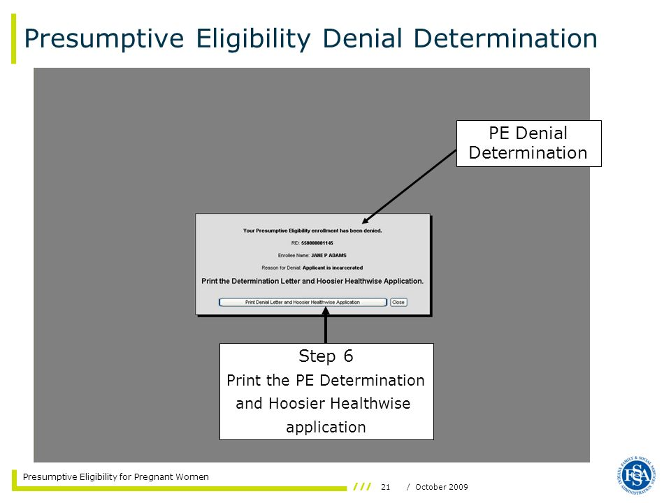 Presumptive Eligibility Denial Determination