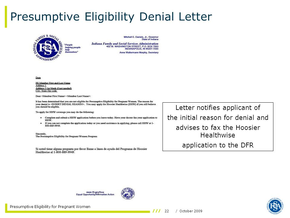 Presumptive Eligibility Denial Letter