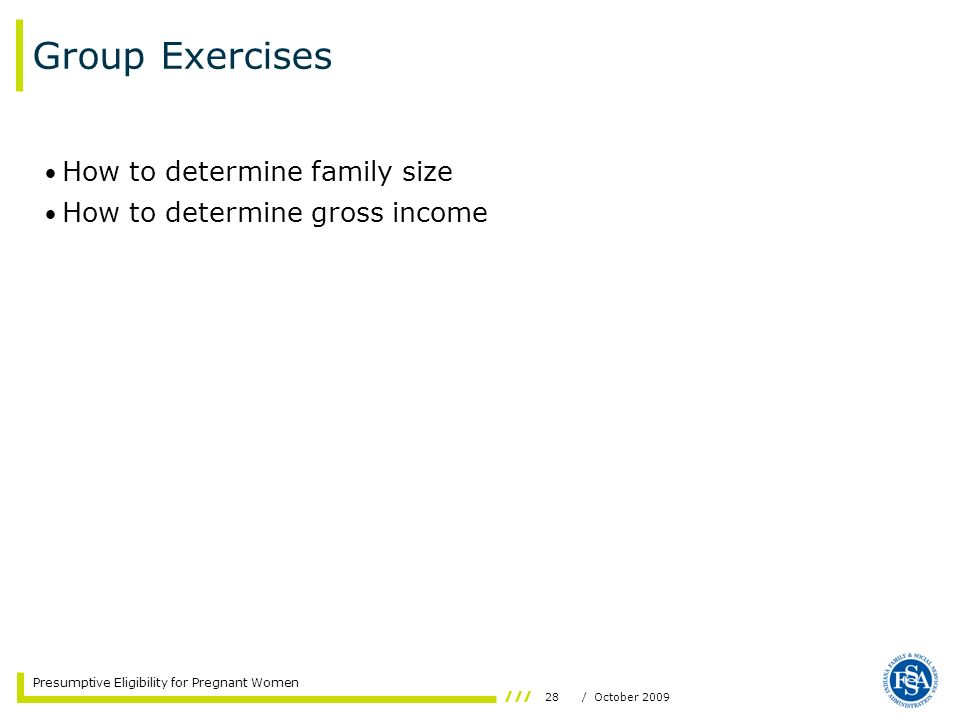 Group Exercises How to determine family size