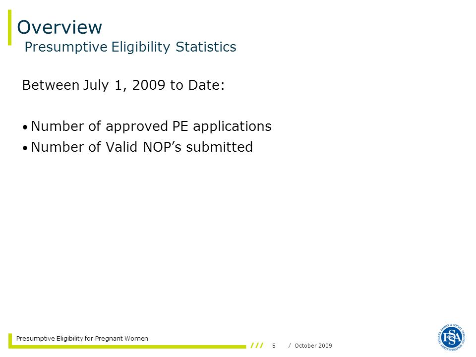 Overview Presumptive Eligibility Statistics