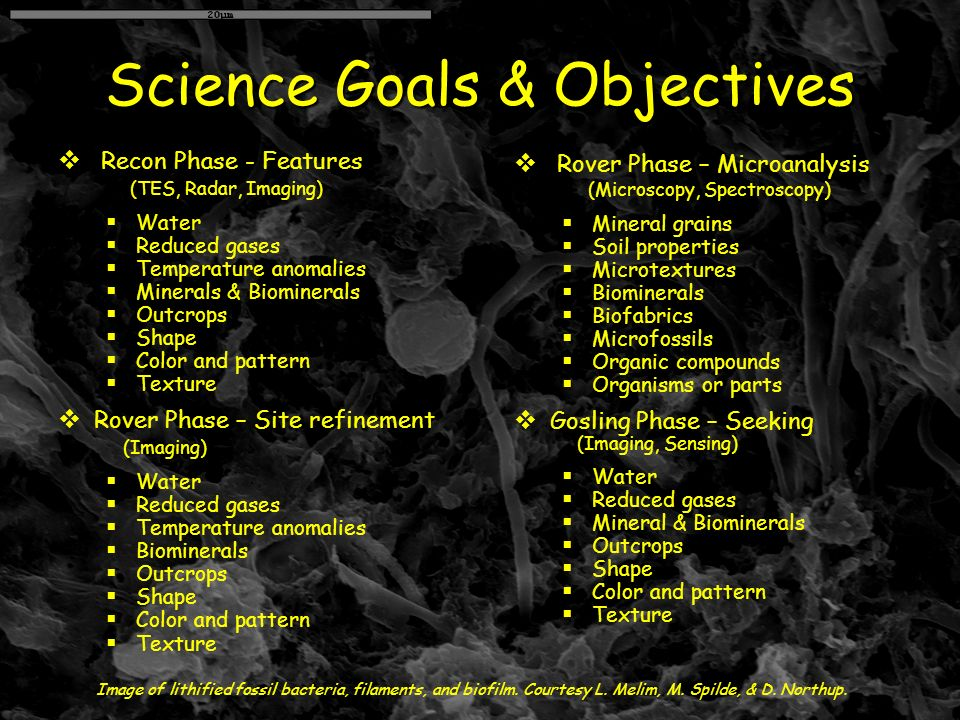 Science Goals & Objectives