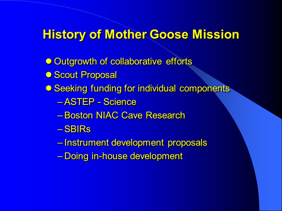 History of Mother Goose Mission