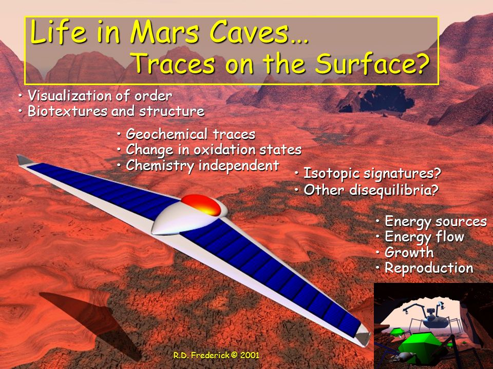 Life in Mars Caves… Traces on the Surface Visualization of order