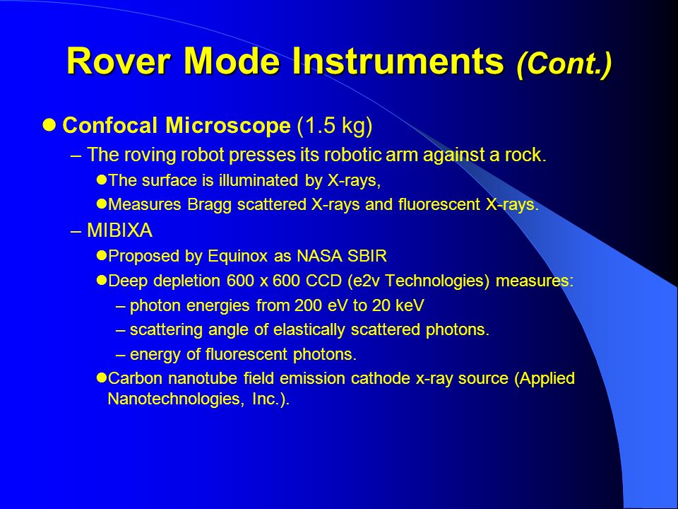 Rover Mode Instruments (Cont.)