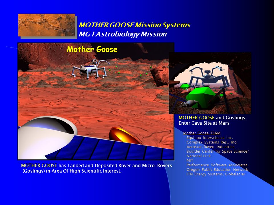 Mother Goose MOTHER GOOSE Mission Systems MG I Astrobiology Mission