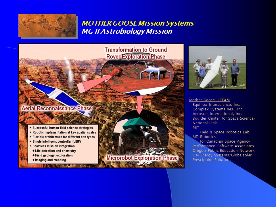 MOTHER GOOSE Mission Systems MG II Astrobiology Mission