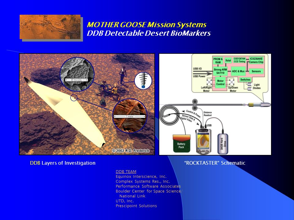 MOTHER GOOSE Mission Systems DDB Detectable Desert BioMarkers