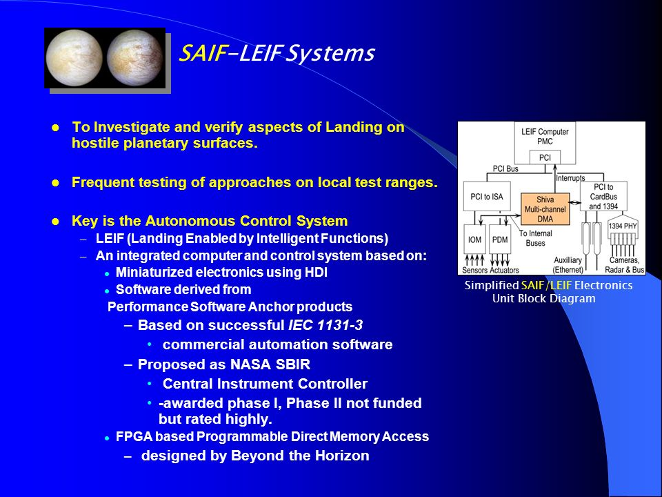 SAIF-LEIF Systems To Investigate and verify aspects of Landing on hostile planetary surfaces. Frequent testing of approaches on local test ranges.