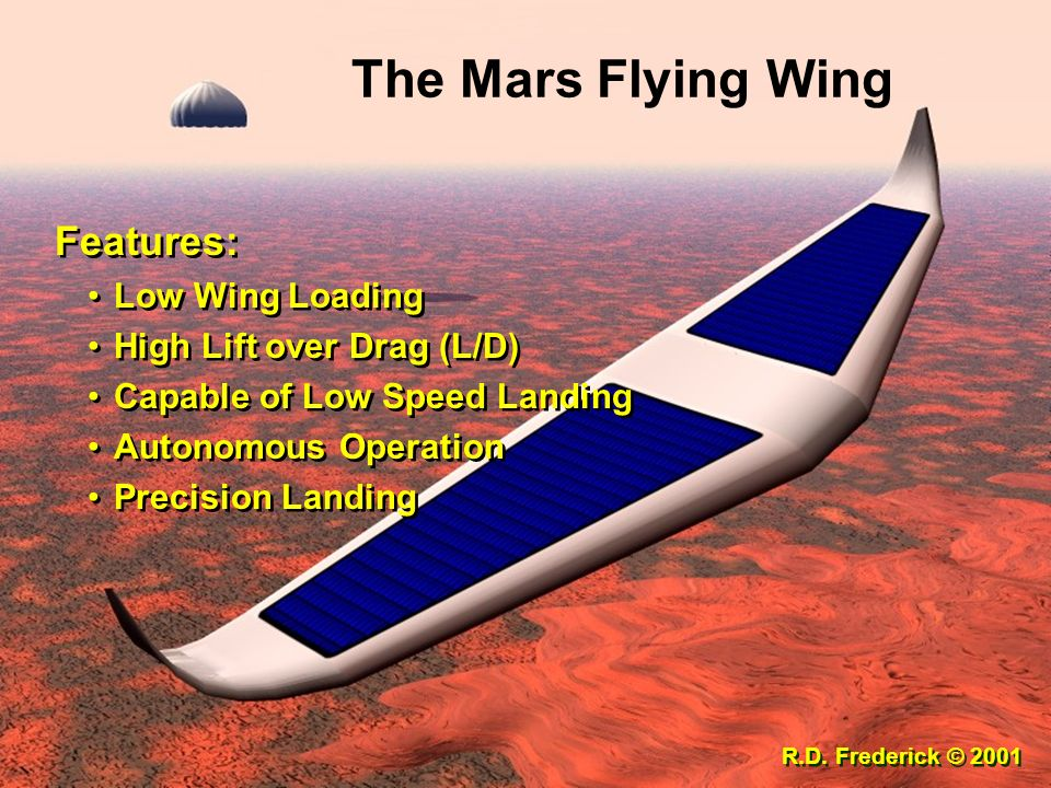 The Mars Flying Wing Features: Low Wing Loading