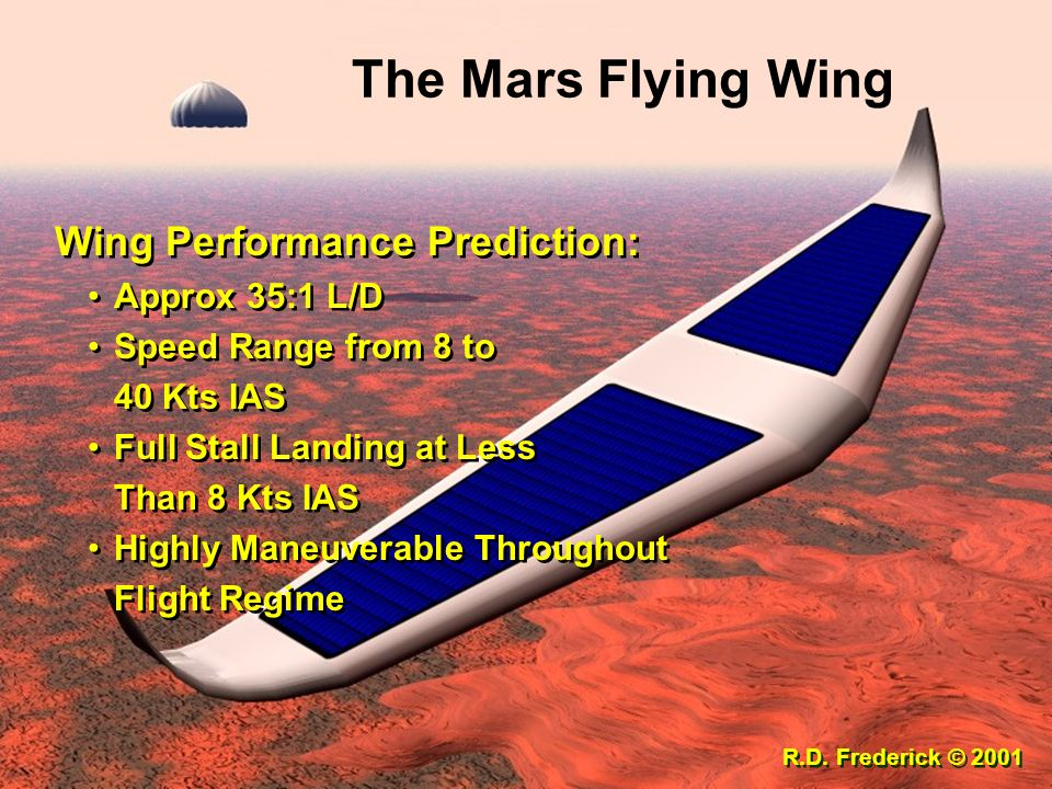 The Mars Flying Wing Wing Performance Prediction: Approx 35:1 L/D