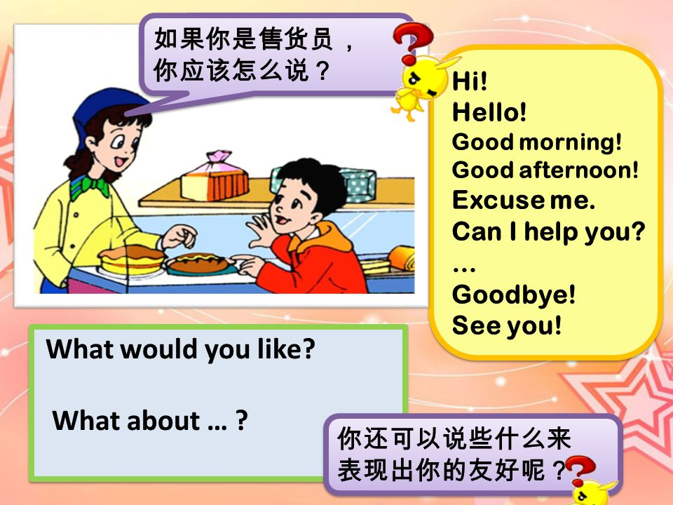 What would you like What about … 如果你是售货员, 你应该怎么说? Hi! Hello!