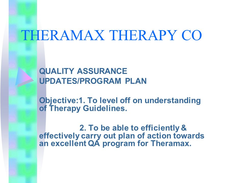 THERAMAX THERAPY CO QUALITY ASSURANCE UPDATES/PROGRAM PLAN
