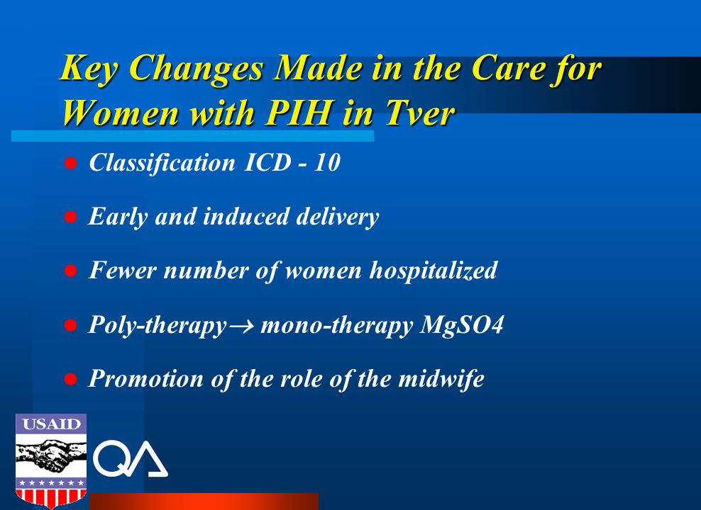 Key Changes Made in the Care for Women with PIH in Tver