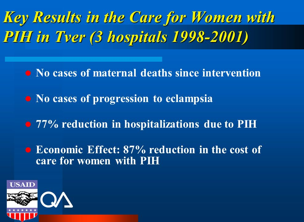 Key Results in the Care for Women with PIH in Tver (3 hospitals 1998-2001)