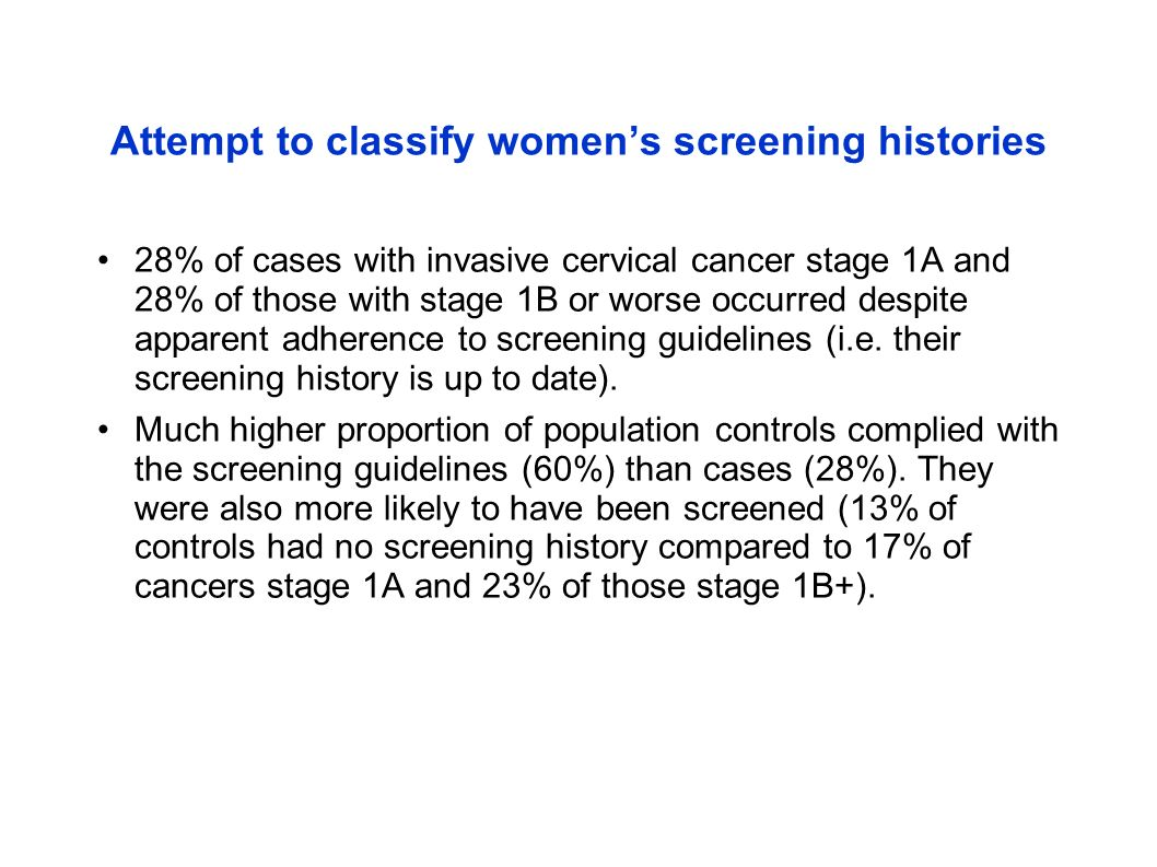Attempt to classify women's screening histories