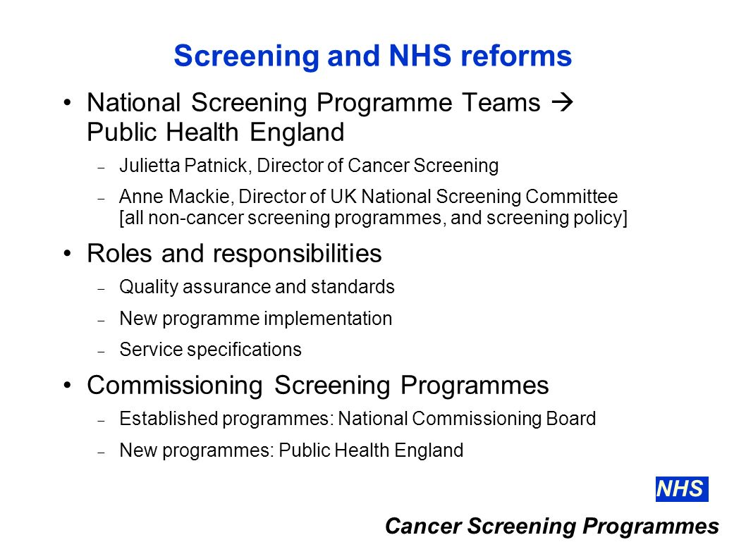 Screening and NHS reforms