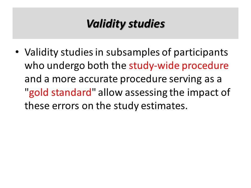 Validity studies