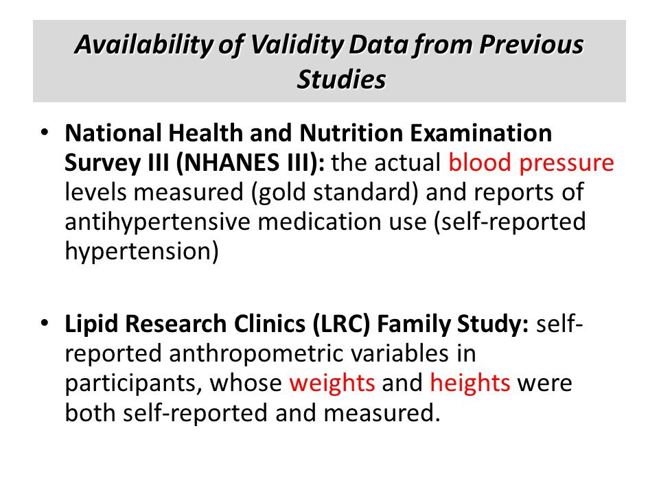 Availability of Validity Data from Previous Studies