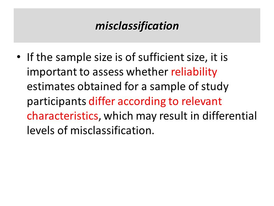 misclassification
