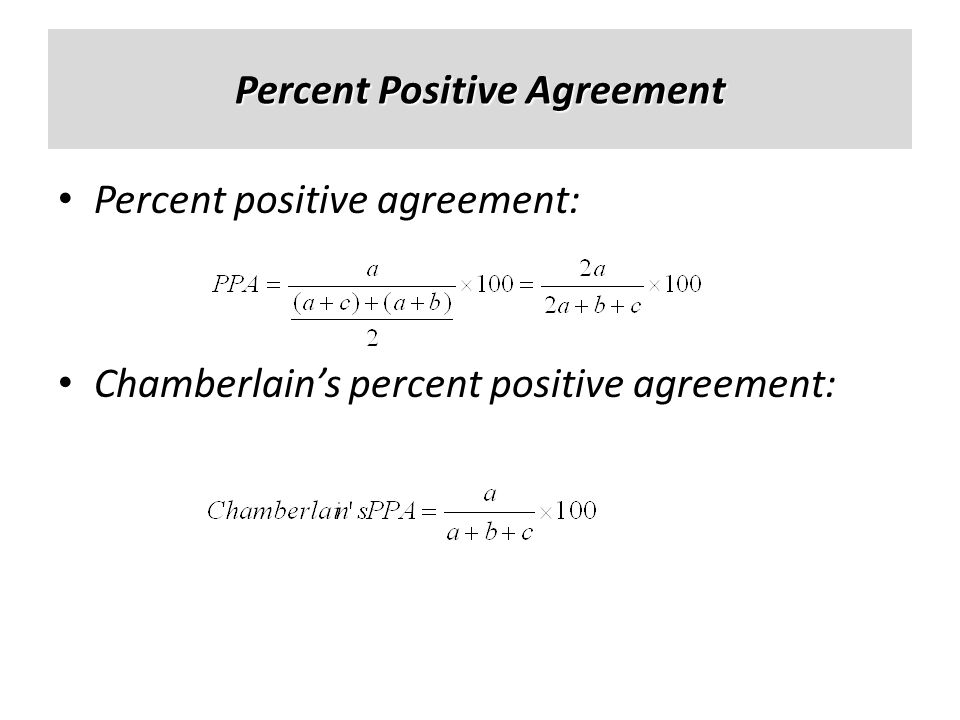 Percent Positive Agreement