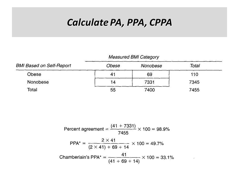 Calculate PA, PPA, CPPA