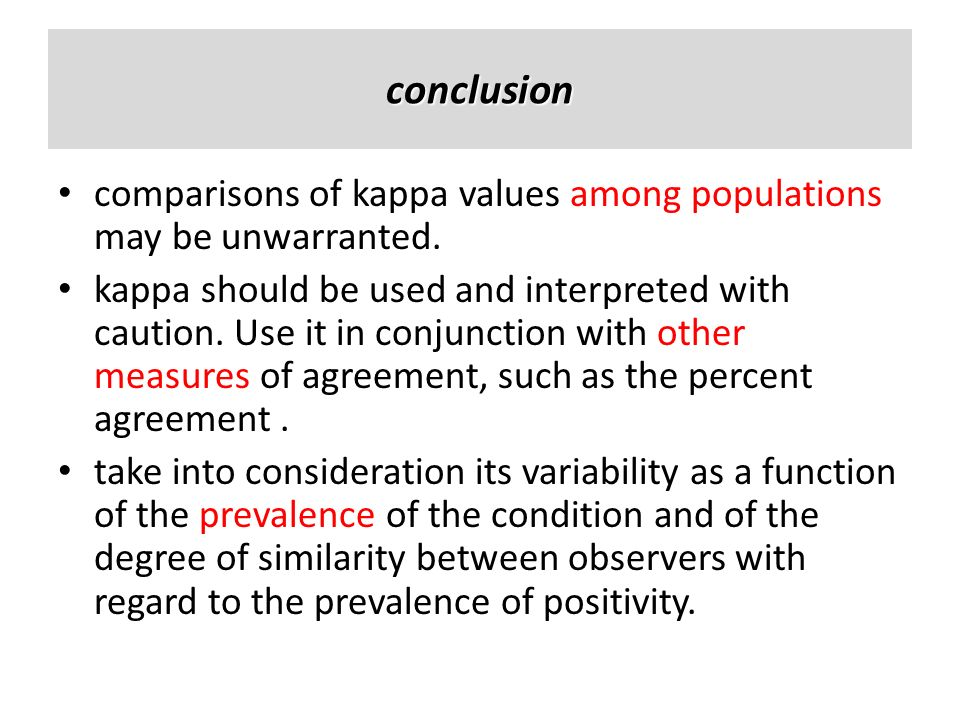 conclusioncomparisons of kappa values among populations may be unwarranted.