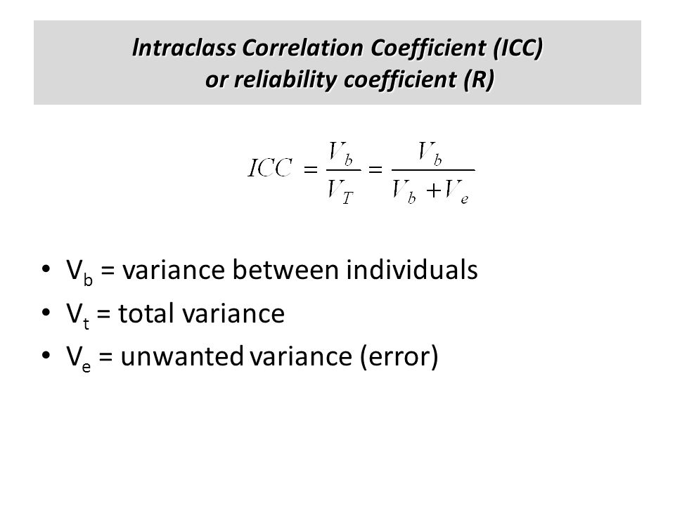 Vb = variance between individuals Vt = total variance