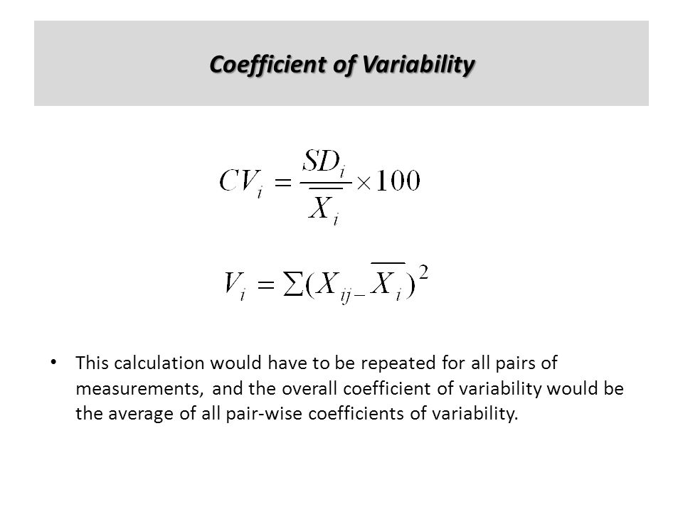 Coefficient of Variability