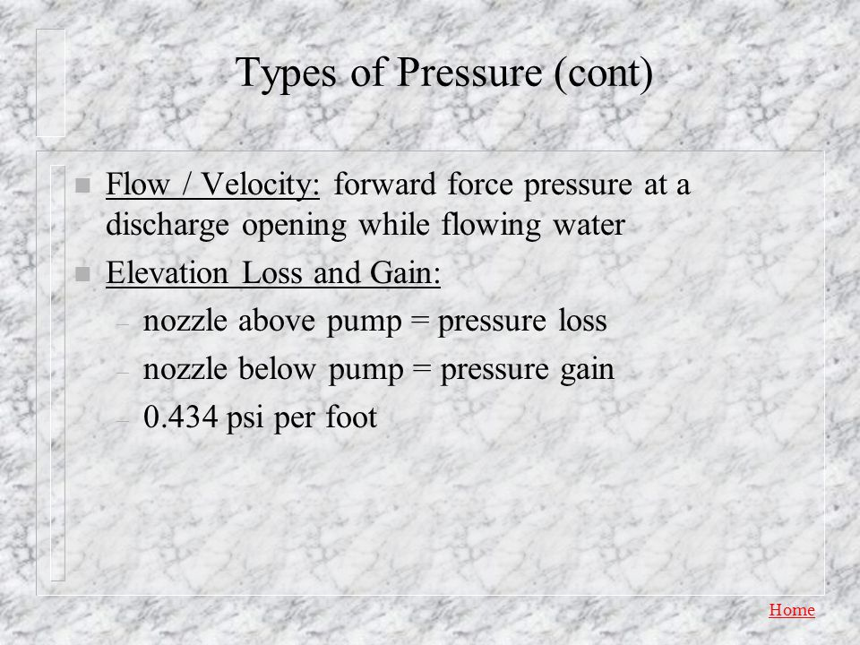 Types of Pressure (cont)