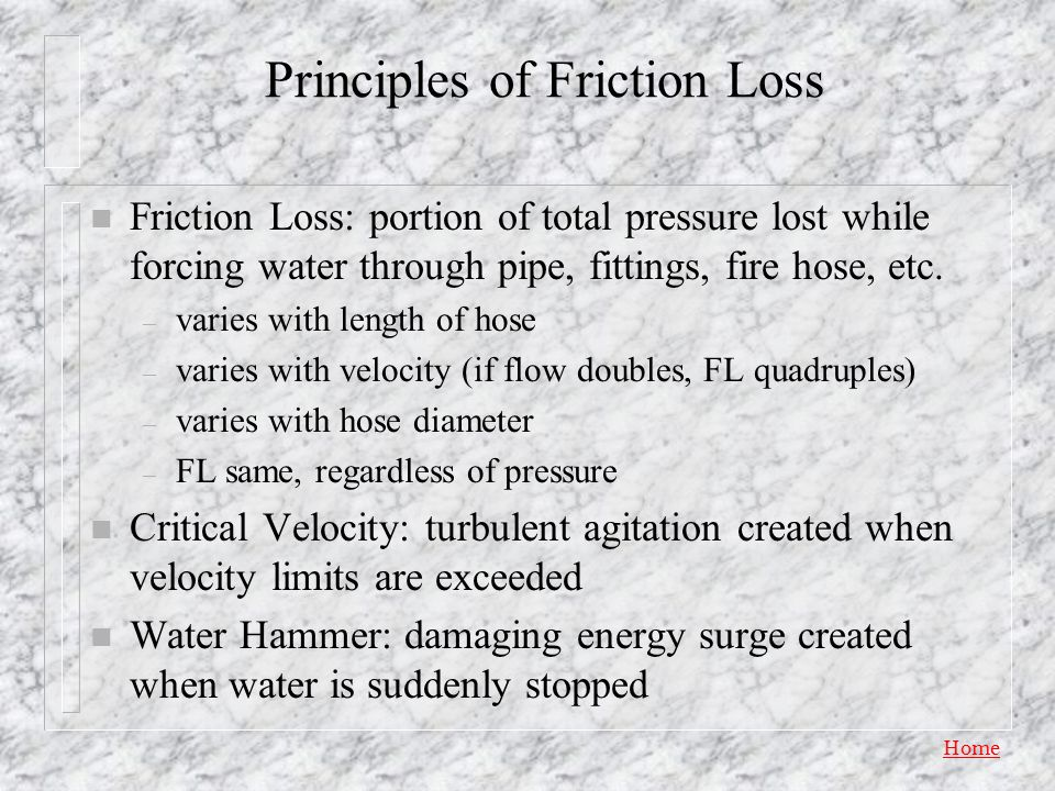 Principles of Friction Loss