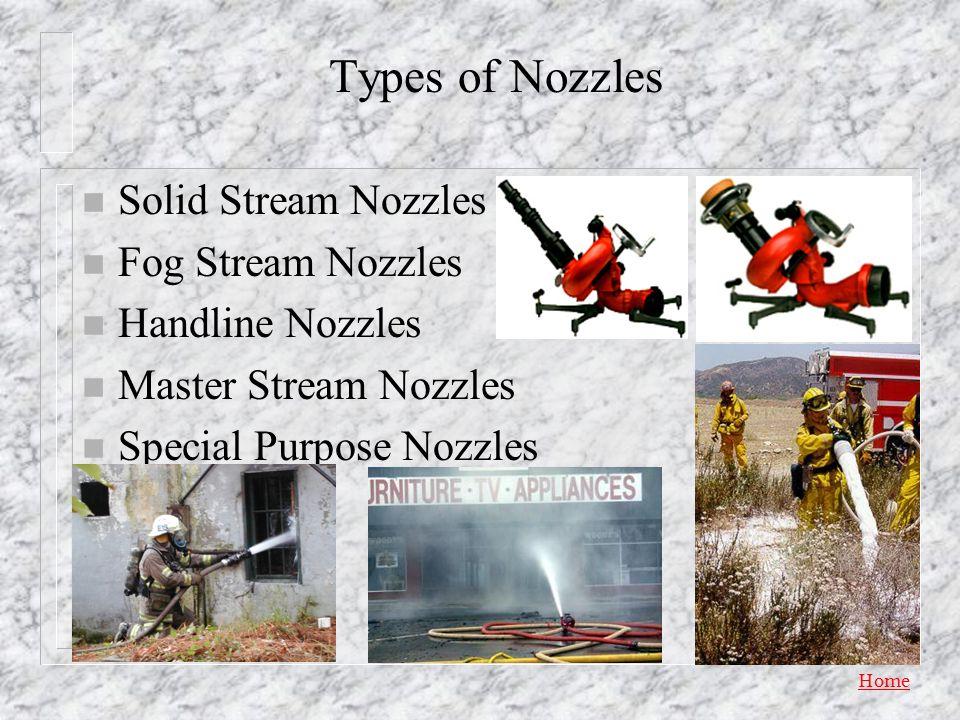 Types of Nozzles Solid Stream Nozzles Fog Stream Nozzles