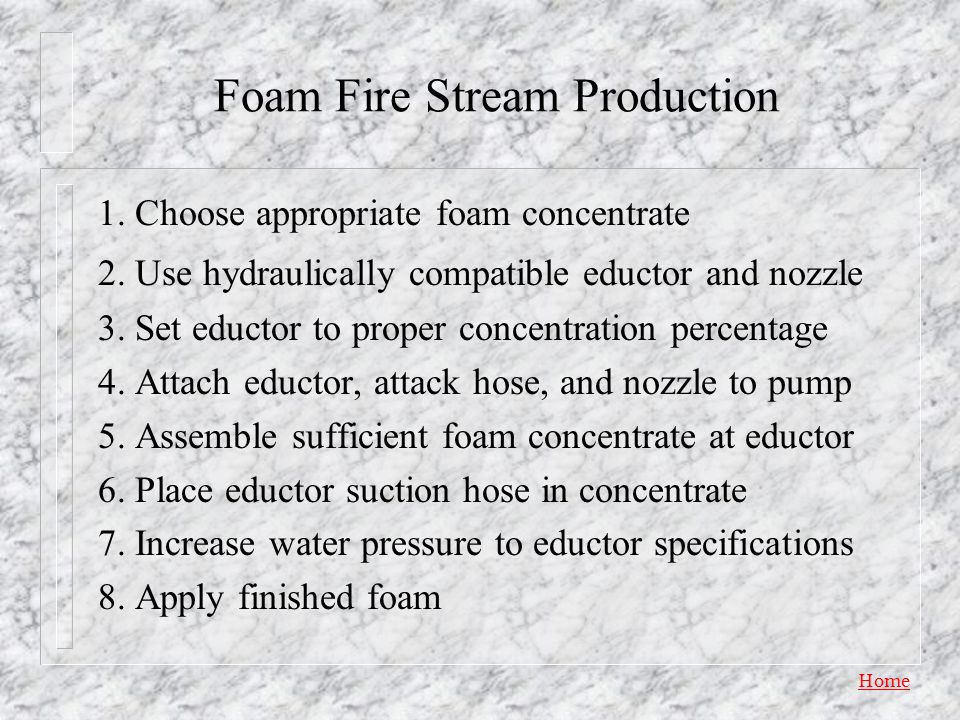 Foam Fire Stream Production