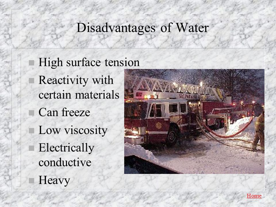 Disadvantages of Water