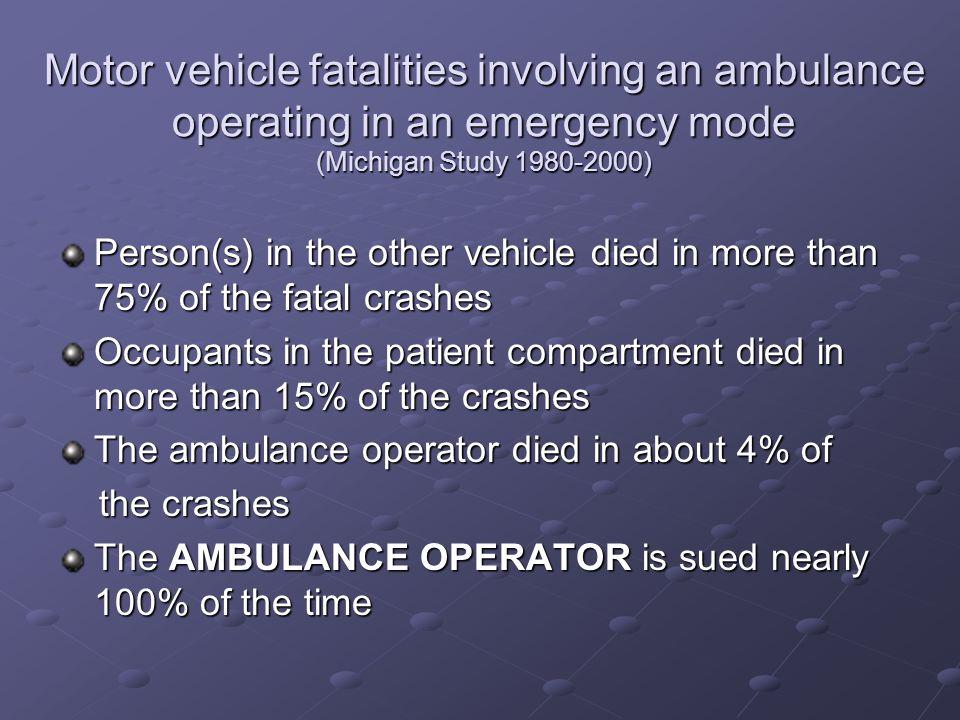 Motor vehicle fatalities involving an ambulance operating in an emergency mode (Michigan Study 1980-2000)