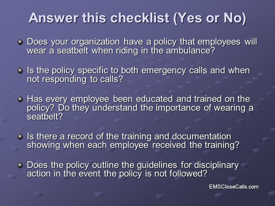 Answer this checklist (Yes or No)