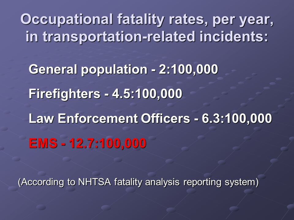 Occupational fatality rates, per year, in transportation-related incidents: