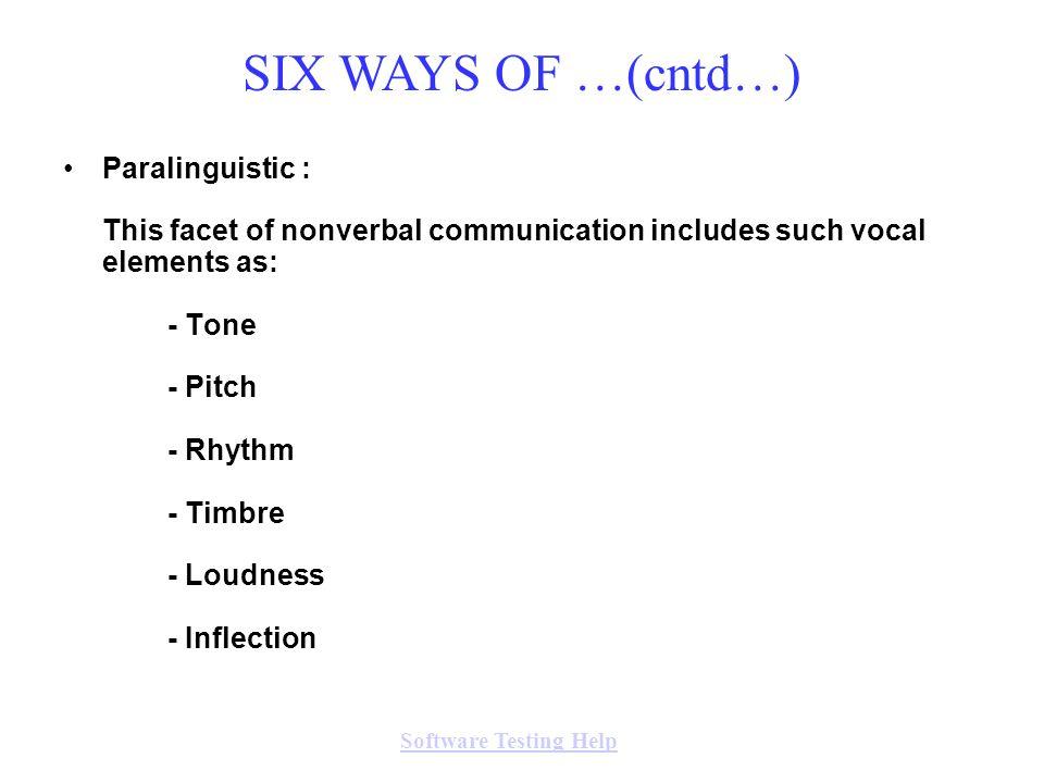 SIX WAYS OF …(cntd…)