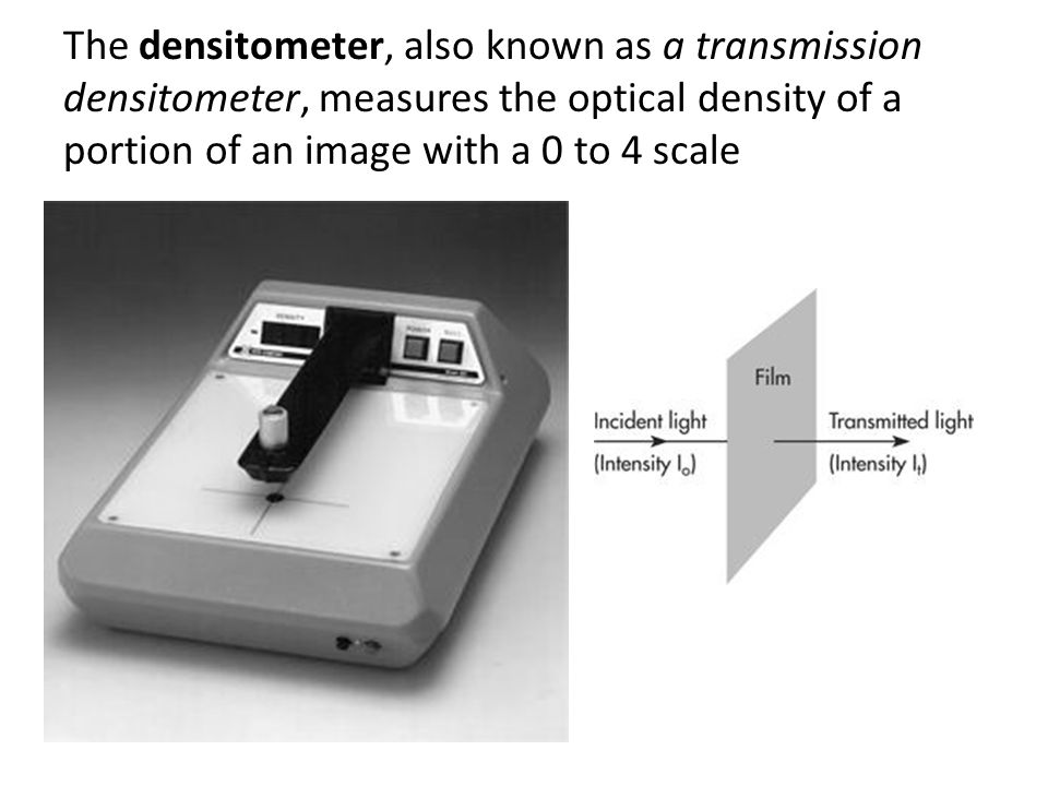 The densitometer, also known as a transmission densitometer, measures the optical density of a portion of an image with a 0 to 4 scale