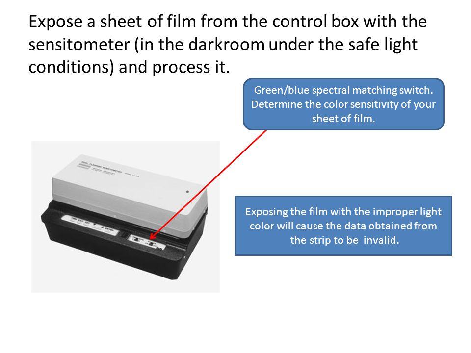 Expose a sheet of film from the control box with the sensitometer (in the darkroom under the safe light conditions) and process it.